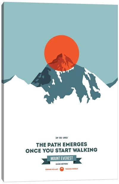 Mountains Illustrated Mount Everest (Neon Orange Circle) (Screen Print) Canvas Art Print