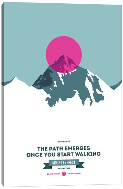 Mountains Illustrated Mount Everest (Neon Pink Circle) (Screen Print) Canvas Art Print