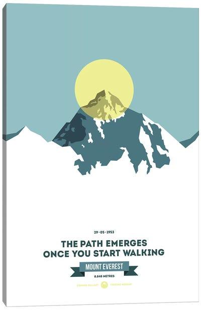 Mountains Illustrated Mount Everest (Neon Yellow Circle) (Screen Print) Canvas Art Print