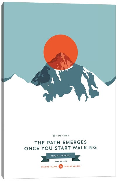 Mountains Illustrated Mount Everest (Orange Circle) Canvas Art Print