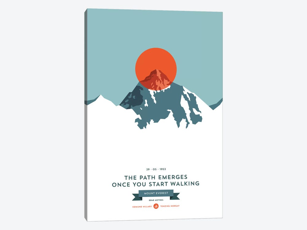 Mountains Illustrated Mount Everest (Orange Circle) by Joe Mania 1-piece Art Print