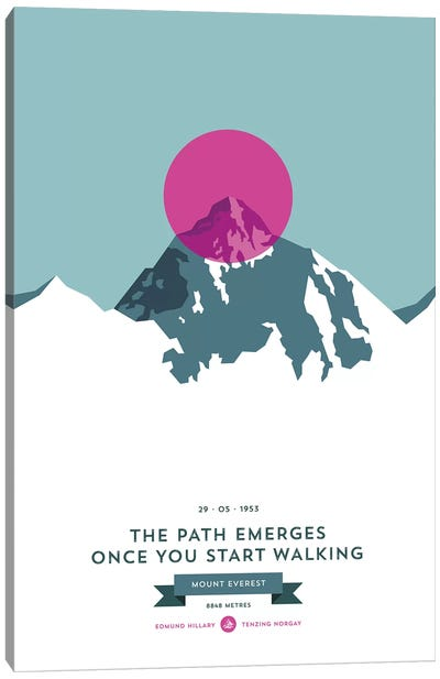 Mountains Illustrated Mount Everest (Pink Circle) Canvas Art Print
