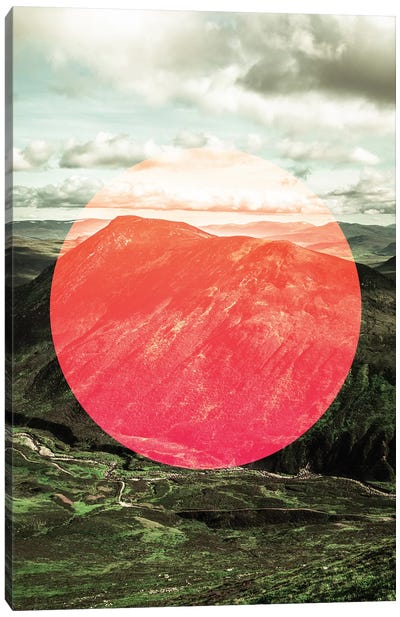 Landscapes Circular 1  Scottish Highlands (Pink Circle) Canvas Art Print
