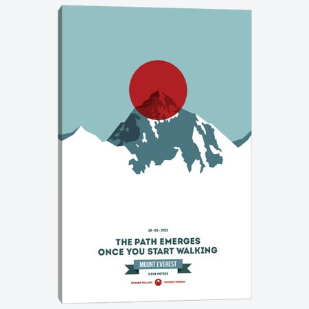 Mountains Illustrated Mount Everest (Red Circle) (Screen Print) Canvas Print #NIA90} by Joe Mania Canvas Wall Art