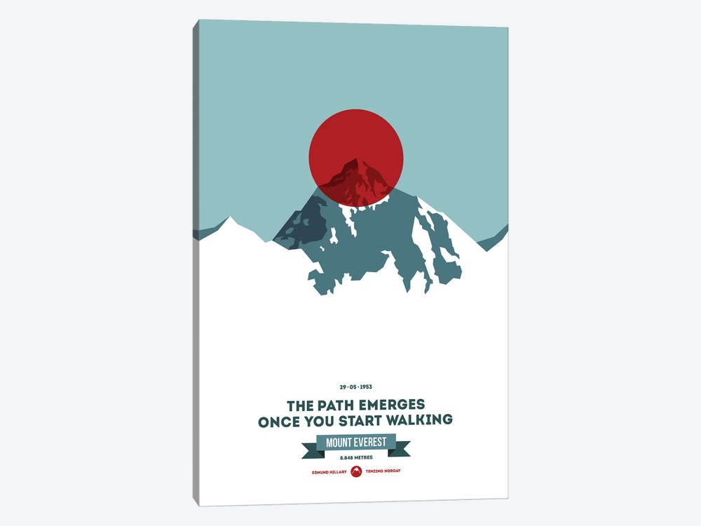 Mountains Illustrated Mount Everest (Red Circle) (Screen Print) by Joe Mania 1-piece Canvas Wall Art