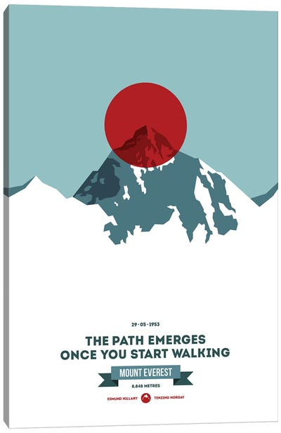Mountains Illustrated Mount Everest (Red Circle) (Screen Print) Canvas Art Print