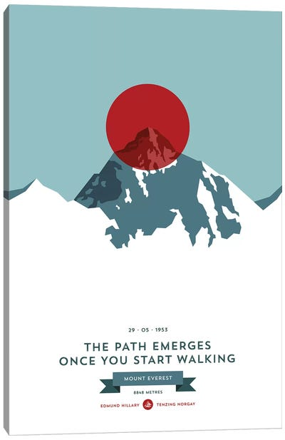 Mountains Illustrated Mount Everest (Red Circle) Canvas Art Print