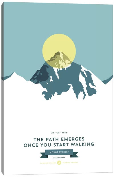 Mountains Illustrated Mount Everest (Yellow Circle) Canvas Art Print