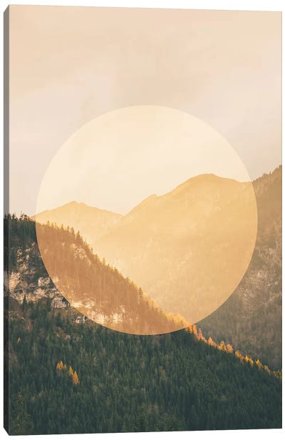 Landscapes Circular 2  Alps (Orange Circle) Canvas Art Print