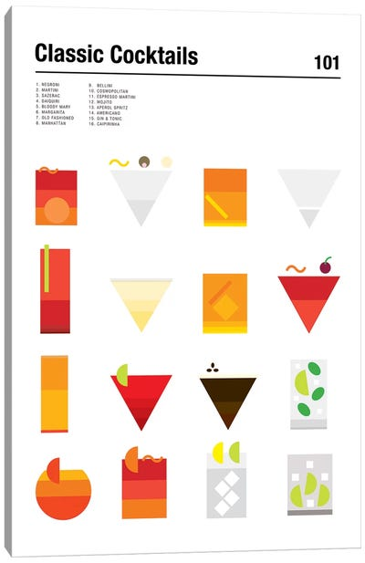Classic Cocktails 101 Canvas Art Print