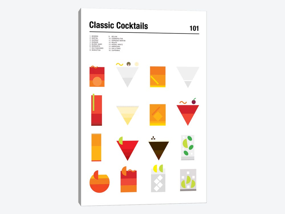 Classic Cocktails 101 by Nick Barclay 1-piece Canvas Wall Art