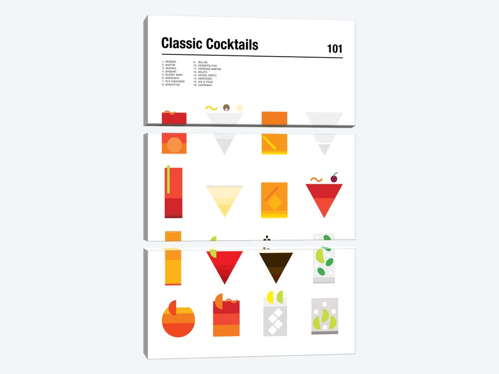 Classic Cocktails 101 by Nick Barclay 3-piece Canvas Wall Art