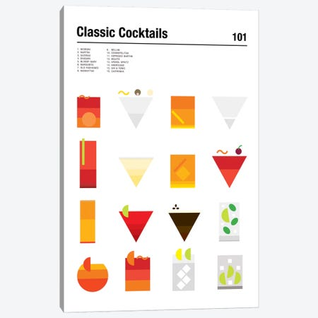 Classic Cocktails 101 Canvas Print #NIB27} by Nick Barclay Canvas Art Print