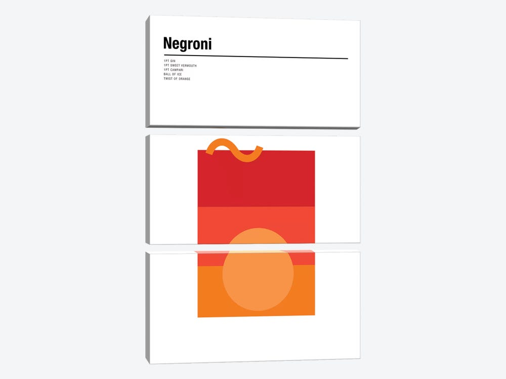Negroni by Nick Barclay 3-piece Canvas Print