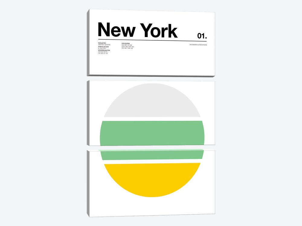 New York by Nick Barclay 3-piece Canvas Artwork