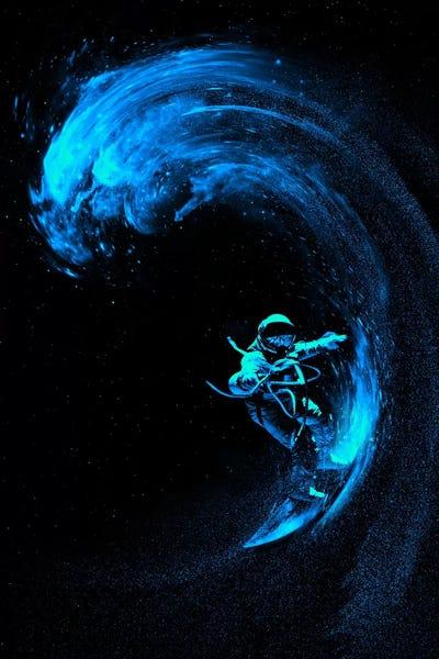 Space Surfing Blue Wave Canvas Art Print