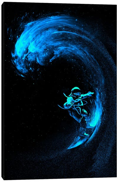 Space Surfing Blue Wave Canvas Art Print