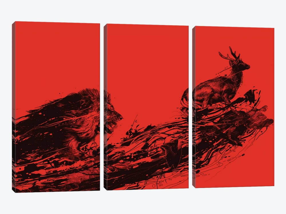 Intense Chasing 3-piece Canvas Art