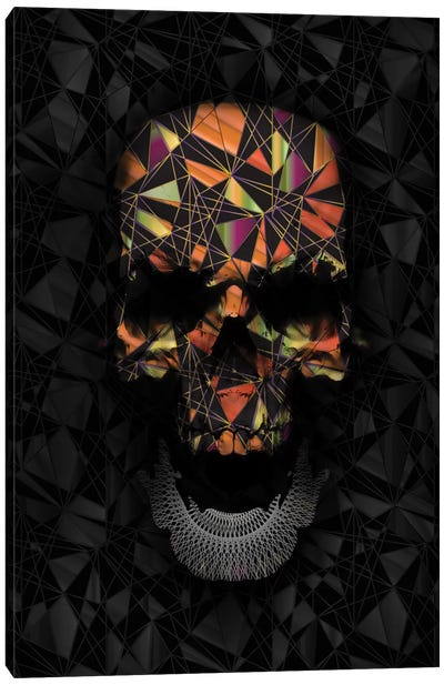 Colorful Geometric Skull Canvas Art Print