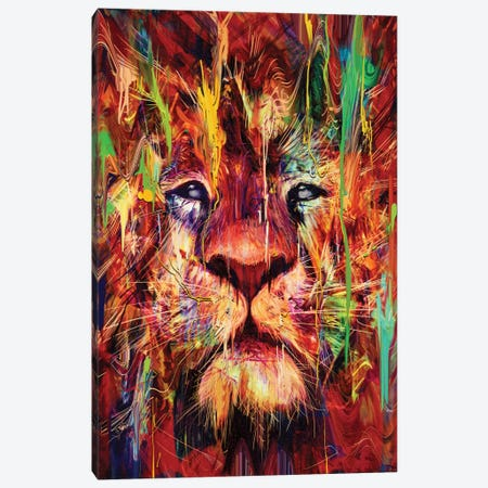Lion Red Canvas Print #NID181} by Nicebleed Canvas Art