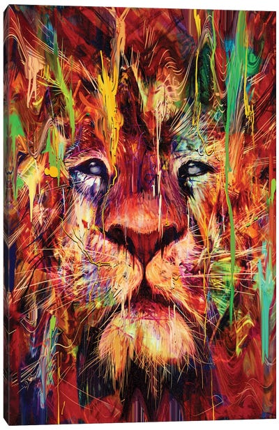 Lion Red Canvas Art Print