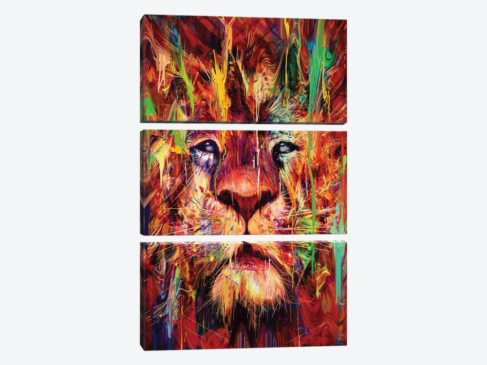 Lion Red by Nicebleed 3-piece Canvas Art
