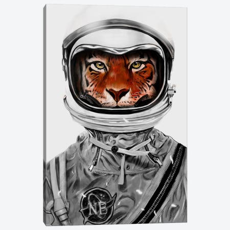 Astro Tiger In B&W Canvas Print #NID194} by Nicebleed Canvas Wall Art