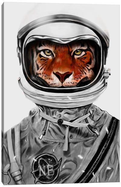Astro Tiger In B&W Canvas Art Print