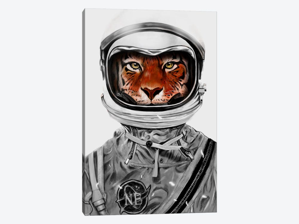 Astro Tiger In B&W 1-piece Canvas Art