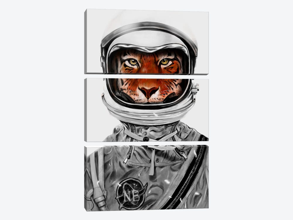 Astro Tiger In B&W by Nicebleed 3-piece Canvas Wall Art