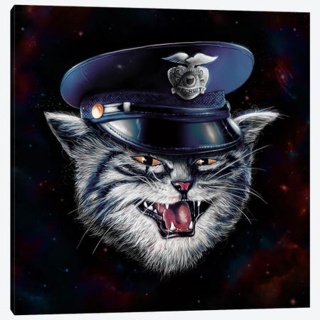 Police Cat Canvas Print #NID211} by Nicebleed Canvas Art