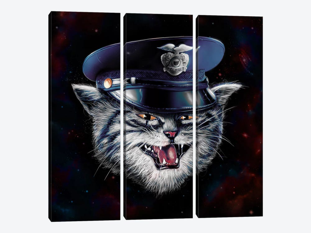 Police Cat by Nicebleed 3-piece Canvas Print