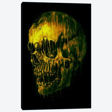 Skull Melt Green Canvas Print #NID258} by Nicebleed Canvas Artwork