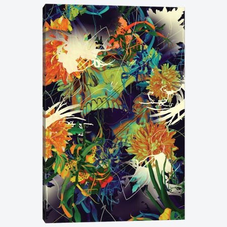 Skull Flora Canvas Print #NID278} by Nicebleed Canvas Art