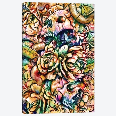 Skulls And Flowers Canvas Print #NID280} by Nicebleed Canvas Art Print