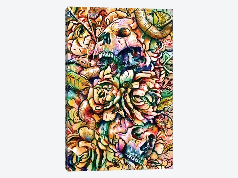 Skulls And Flowers by Nicebleed 1-piece Canvas Art Print