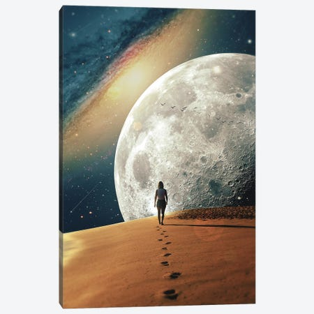 Alone With The Moon II Canvas Print #NID444} by Nicebleed Canvas Wall Art