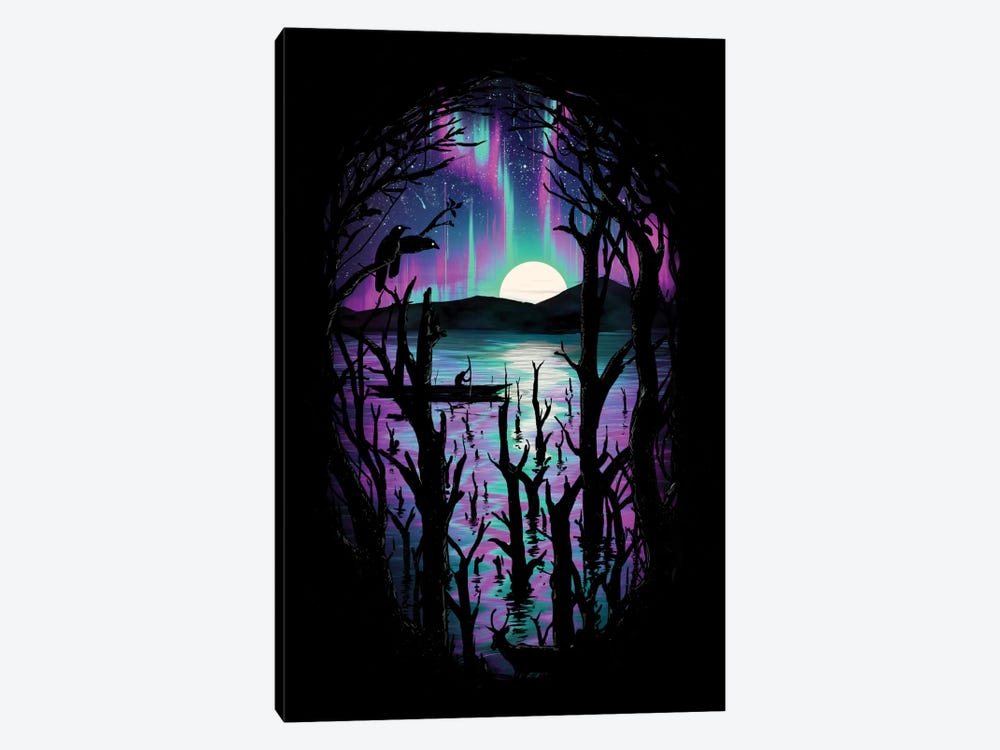 Night With Aurora by Nicebleed 1-piece Canvas Wall Art