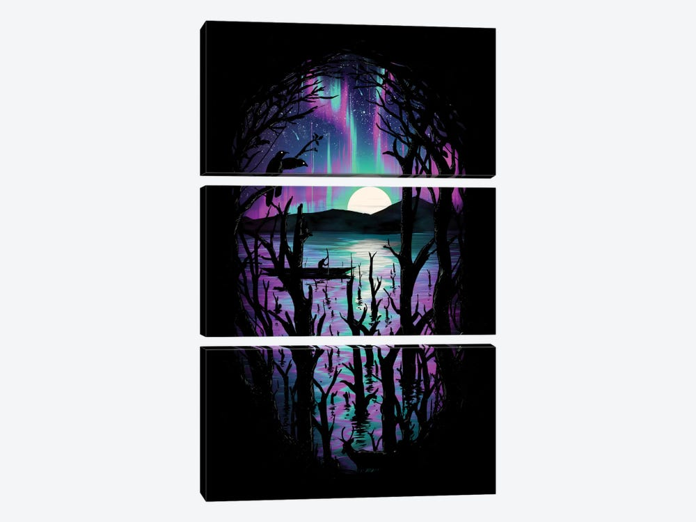 Night With Aurora by Nicebleed 3-piece Canvas Wall Art
