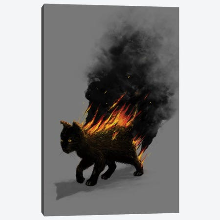 Cat On Fire Canvas Print #NID54} by Nicebleed Canvas Art