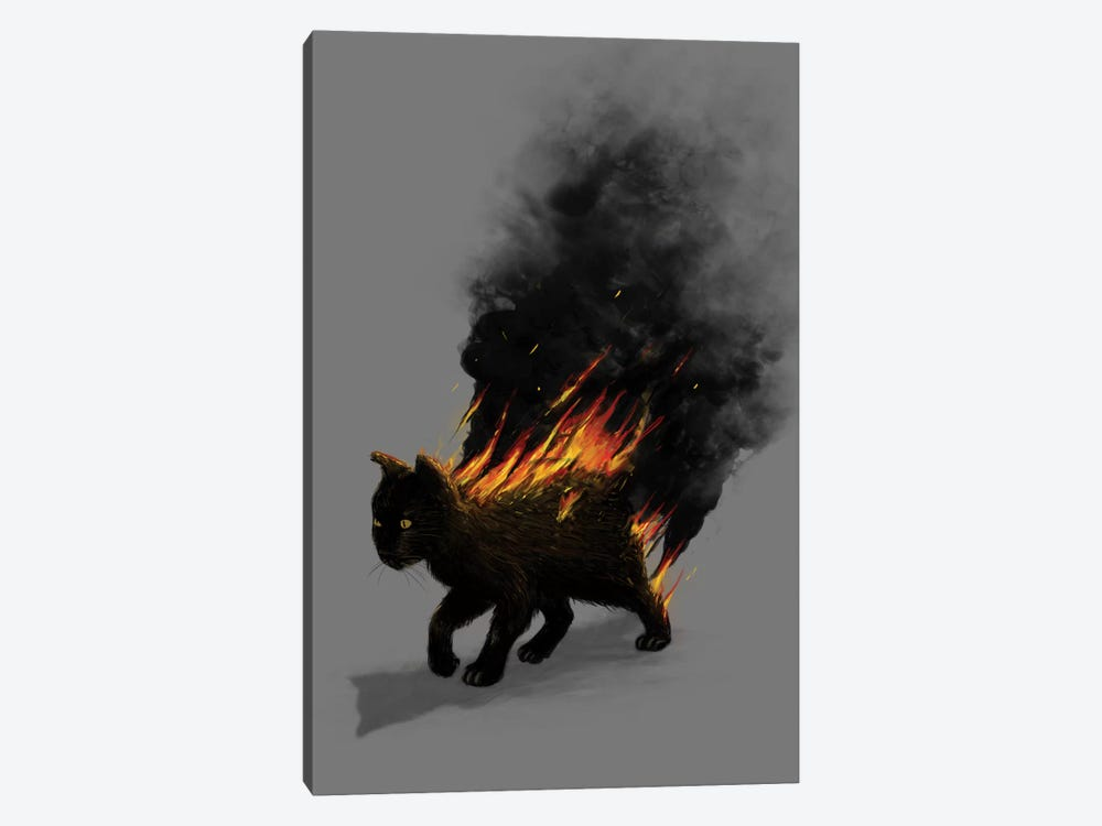 Cat On Fire by Nicebleed 1-piece Canvas Wall Art