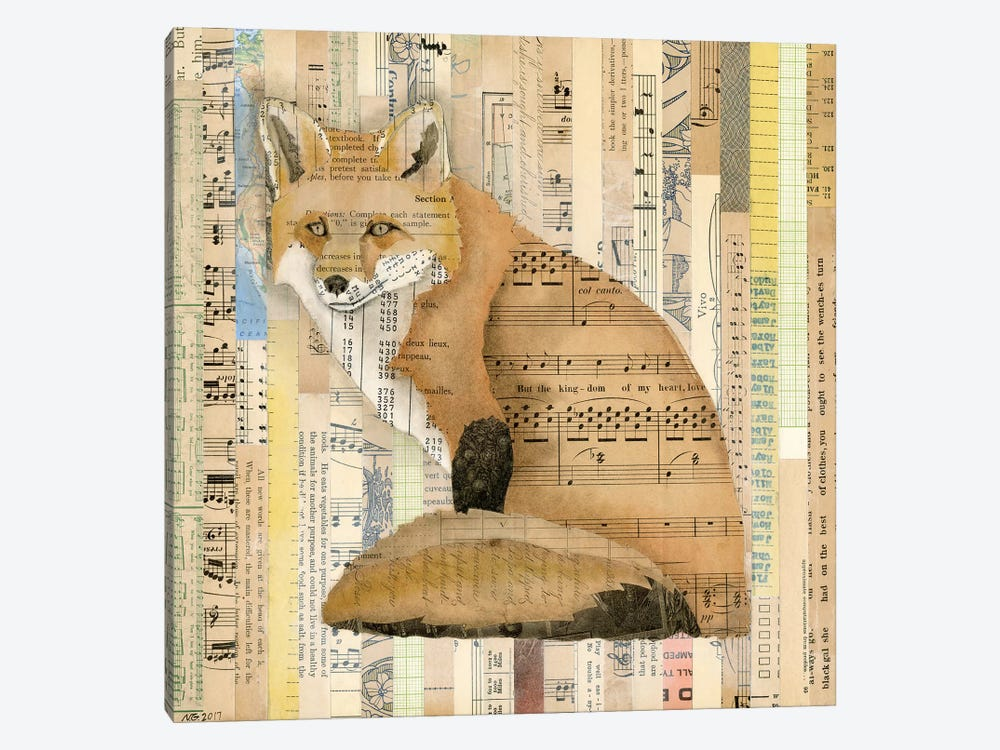 Red Fox Collage II by Nikki Galapon 1-piece Canvas Wall Art