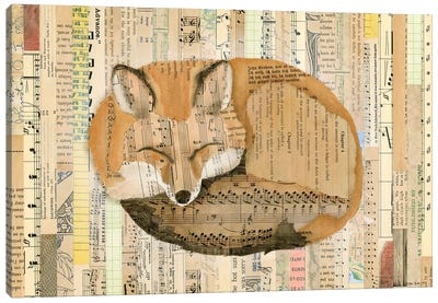 Red Fox Collage III Canvas Art Print