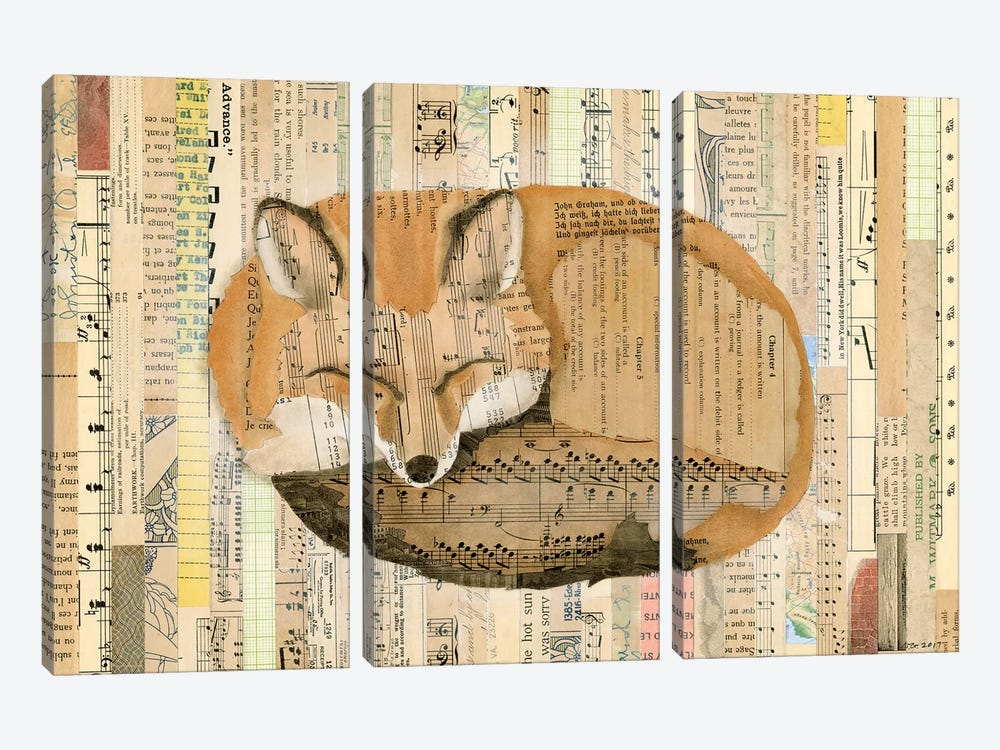 Red Fox Collage III by Nikki Galapon 3-piece Canvas Art Print