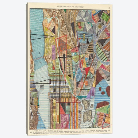 Modern Map of New York I 3-Piece Canvas #NIK17} by Nikki Galapon Canvas Art Print