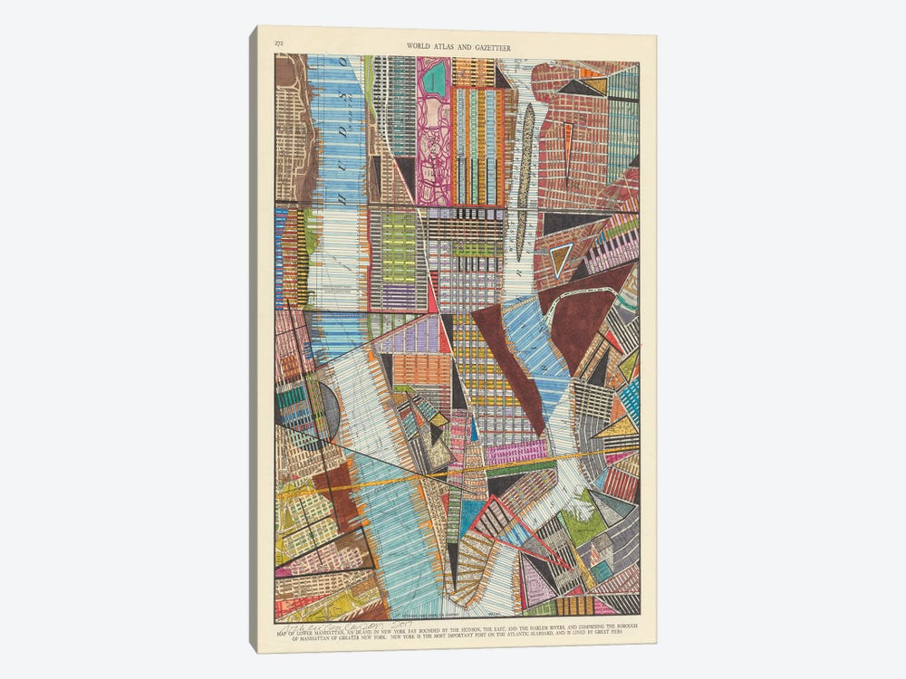 Modern Map of New York II by Nikki Galapon 1-piece Canvas Wall Art