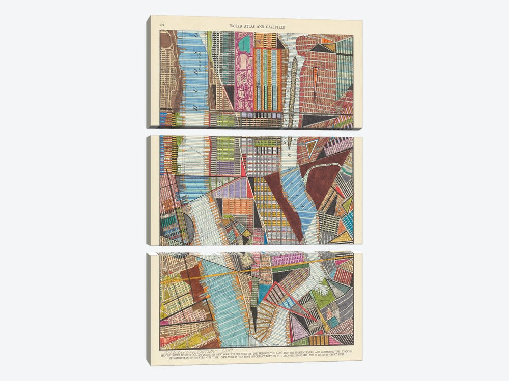 Modern Map of New York II by Nikki Galapon 3-piece Canvas Wall Art