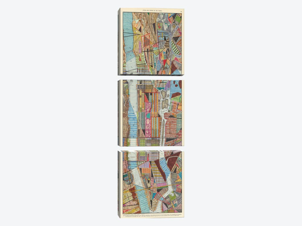 Modern Map of New York III by Nikki Galapon 3-piece Canvas Art Print