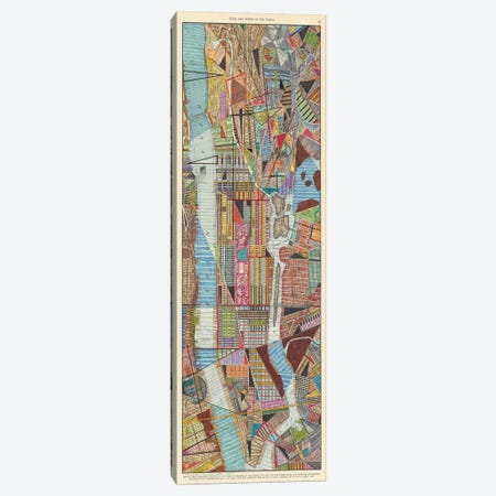 Modern Map of New York III 3-Piece Canvas #NIK19} by Nikki Galapon Canvas Artwork
