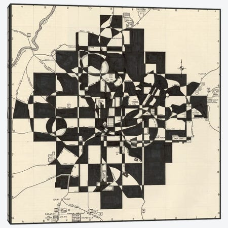 Modern Map Of Atlanta Canvas Print #NIK1} by Nikki Galapon Canvas Artwork